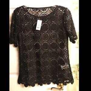 Banana Republic- black lace crochet top